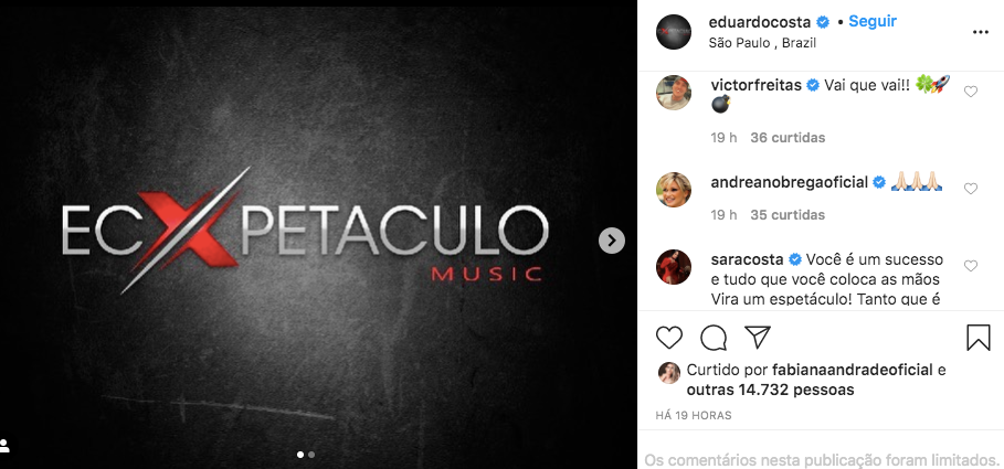 Andréa comentou na publicação do cantor (Foto: Reprodução)
